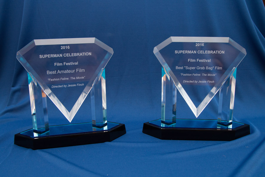 Two of the four awards we won at the Superman Celebration Film Festival